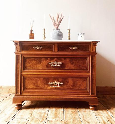 Burr Walnut Chest of Drawers / French Antique Style Commode with Marble (1 of 7)