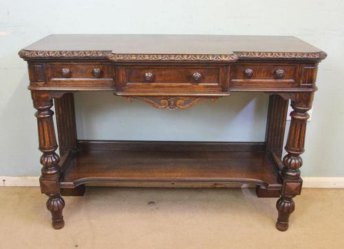 Antique Oak Victorian Shaped Sideboard Server (1 of 15)