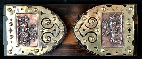 Victorian  Coromandel , Copper and  Brass  Book Slide. (1 of 6)