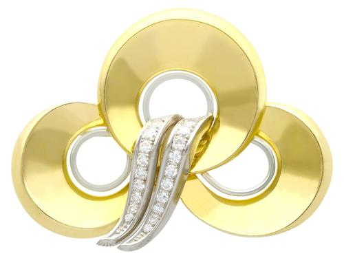 0.72ct Diamond & 18ct Yellow Gold & Platinum Brooch c.1950 (1 of 9)