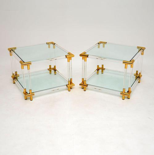 1970's Pair of Vintage Acrylic & Glass Side Tables (1 of 11)