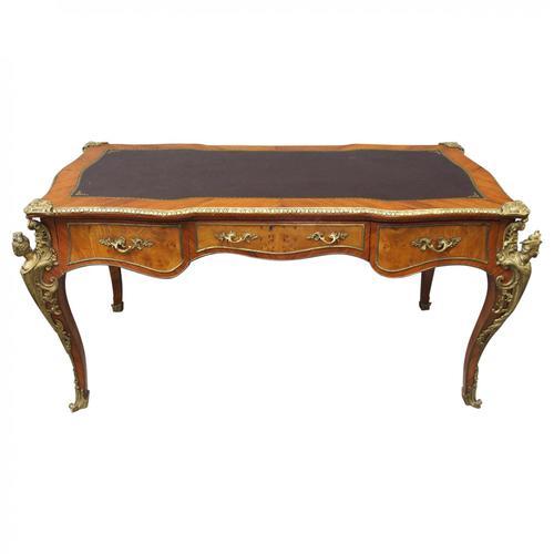 Large French Walnut Bureau Plat / Writing Table (1 of 16)