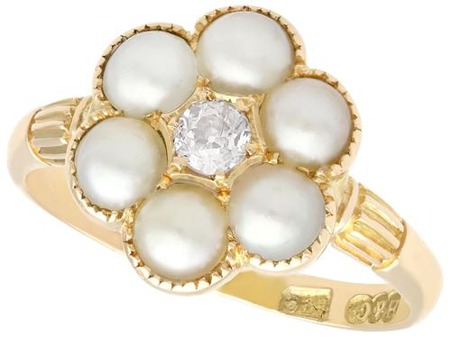 Natural Pearl & 0.20ct Diamond, 18ct Yellow Gold Cluster Ring - Antique c.1880 (1 of 9)