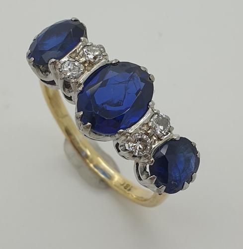 Sapphire & Diamond Rubover Ring (1 of 5)