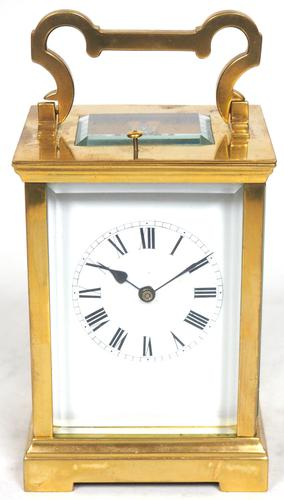 Antique French 8-Day Repeat Carriage Clock Bevelled Case with Enamel Dial  Gong Striking (1 of 5)