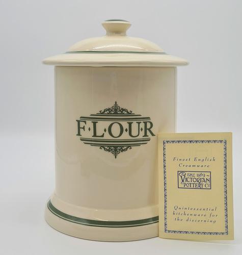 1869 Victorian Pottery Company Flour Storage Jar Green (1 of 7)