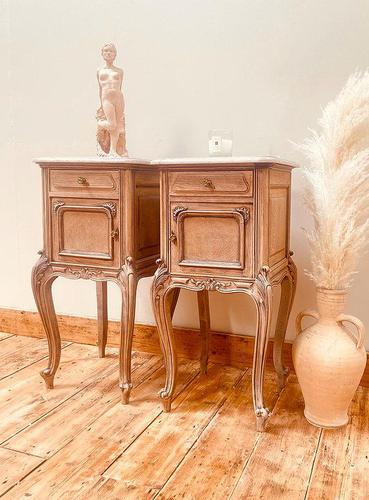 French Antique Bedside Tables / Marble Bedside Cabinets / Louis XV Nightstands (1 of 10)