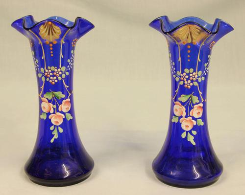 Antique Pair of Bristol Blue Glass Decorated Vases (1 of 4)