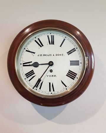 Small Antique 8 Day English Dial Wall Clock (1 of 5)