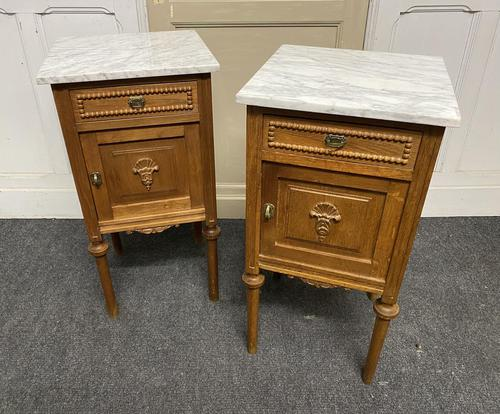 Pair of French Marble Top Bedside Cupboards (1 of 13)