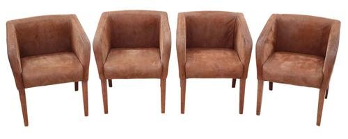 Set of 4  Brown Suede Leather Club Style Dining or Armchairs (1 of 8)