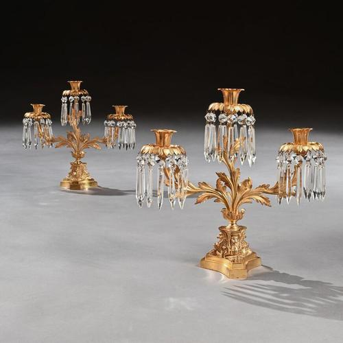 Pair of Early 19th Century Gilt Bronze and Lustres Three Branch Candelabra (1 of 8)
