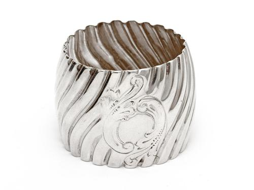 Victorian Silver Napkin Ring with a Chased Spiral Body (1 of 3)