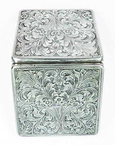 Italian Silver Bright Cut Compact Mirror 1950s (1 of 9)