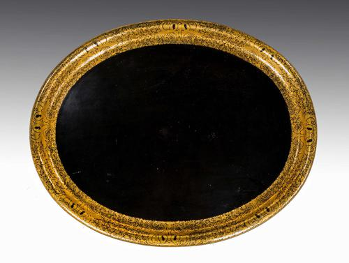 Large Oval Late 19th Century Papier-mâché Tray (1 of 2)