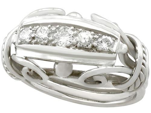 0.42ct Diamond & 18ct White Gold Dress Ring - Vintage Belgian c.1940 (1 of 9)
