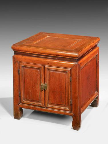 Small 19th Century Oriental Elm Enclosed Stool Table (1 of 3)