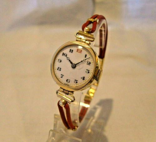 9ct Gold Ladies Wrist Watch 1934 Swiss 15 Jewel Porcelain Dial Red 12 FWO (1 of 12)