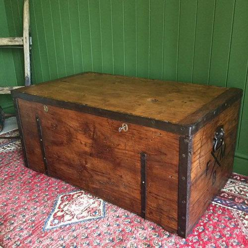 Antique Victorian Bound Campaign Chest Old Rustic Pine Wooden Storage Trunk + Full Zinc Interior + Key (1 of 10)