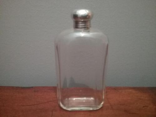 Flask style glass perfume bottle with silver top (1 of 3)