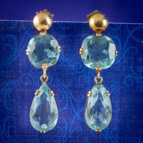 Antique Edwardian Blue Paste Earrings 9ct Gold Screw Backs c.1905 (1 of 5)