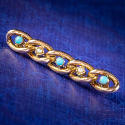 Antique Edwardian Suffragette Chain Brooch Turquoise Pearl 9ct Gold c.1908 (1 of 6)