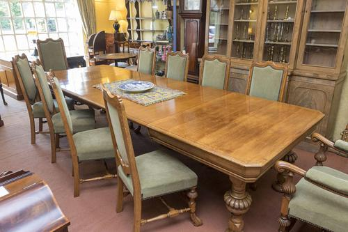 English Blonde Oak Dining Table  and 10 Matching Chairs (1 of 6)