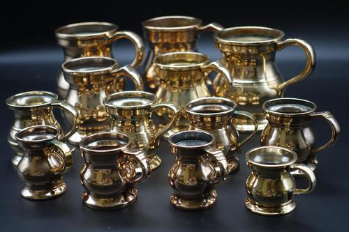 Rare & Attractive Collection of 13 19th Century Brass Pot-bellied Tankards (1 of 3)