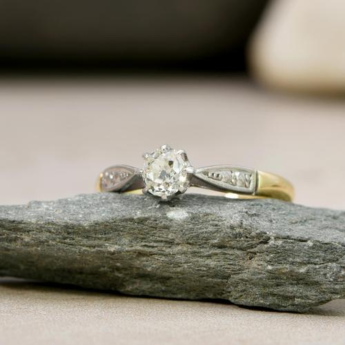 The Antique Old European Cut Diamond Solitaire Ring (1 of 4)