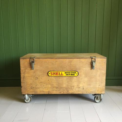 VINTAGE Industrial CHEST Coffee Table Mid Century Old Wooden TRUNK Retro Storage Box + Castors (1 of 12)
