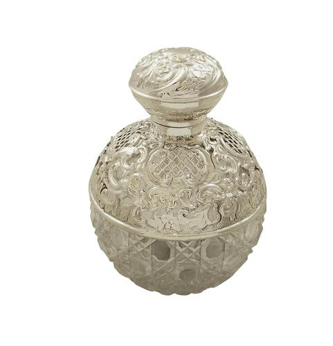 Antique Edwardian Sterling Silver & Cut Glass Perfume / Scent Bottle 1905 (1 of 8)