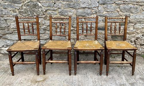 Set of 4 Antique Elm Country Chairs (1 of 13)