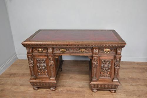 Victorian Carved Oak Pedestal Desk (1 of 6)