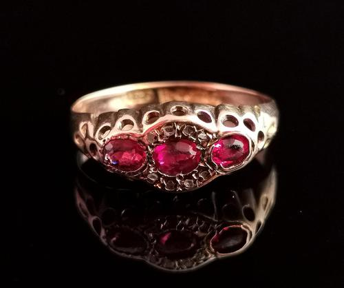 Antique Ruby Paste & Diamond Ring, 9ct Gold (1 of 13)