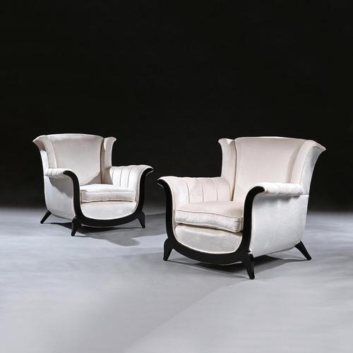 Unusual Pair of French Art Deco Ebonised Armchairs in a Crushed Velvet (1 of 8)