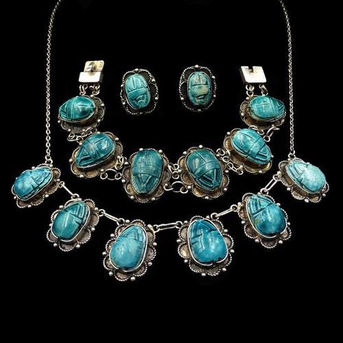 Art Deco Blue Porcelain Scarab Beetle Silver Full Set Suite - Necklace Earrings Bracelet (1 of 10)