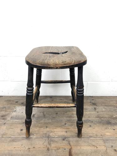 Antique 19th Century Elm Country Made Stool (1 of 8)