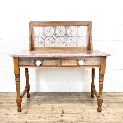 Antique Pine Tile Back Washstand (1 of 15)
