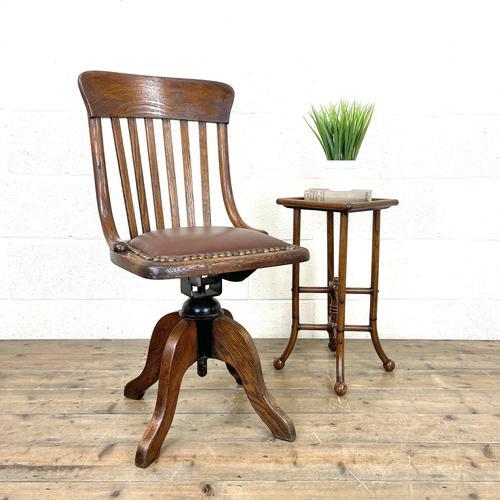 Early 20th Century Antique Oak Swivel Desk Chair (1 of 10)