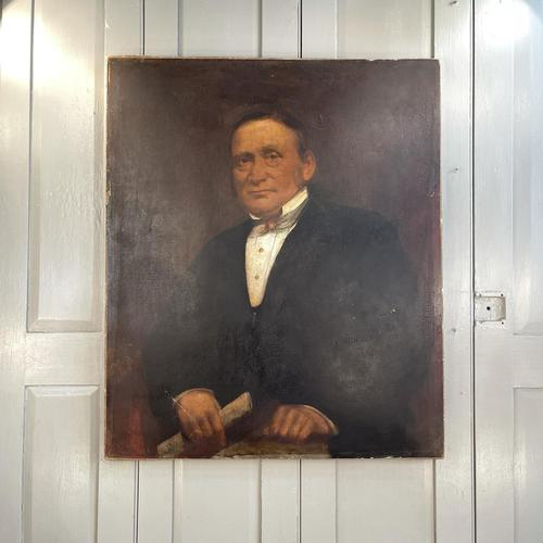 Large Antique Victorian Oil Painting Portrait of Gentleman in Formal Attire (1 of 10)