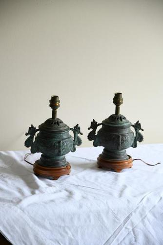 Pair of Chinese Archaic Style Urn Lamps (1 of 7)