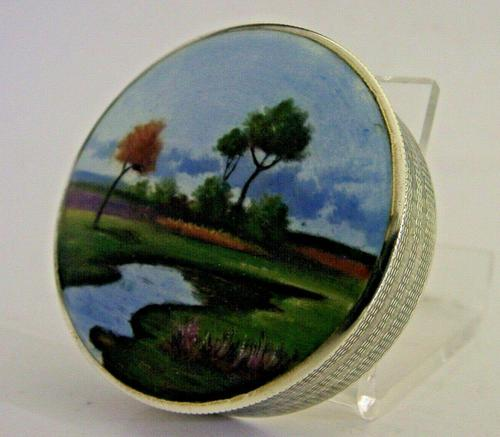 Rare Austrian Hand Painted Solid Sterling Silver Enamel Box c.1910 (1 of 8)