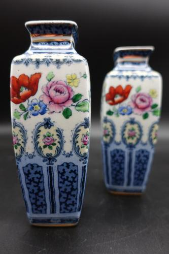 Pair of Early 20th Century Losol Ware Miniature Square Section Vases (1 of 6)