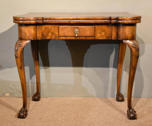 Walnut Card Table Fine Tapestry Interior (1 of 10)