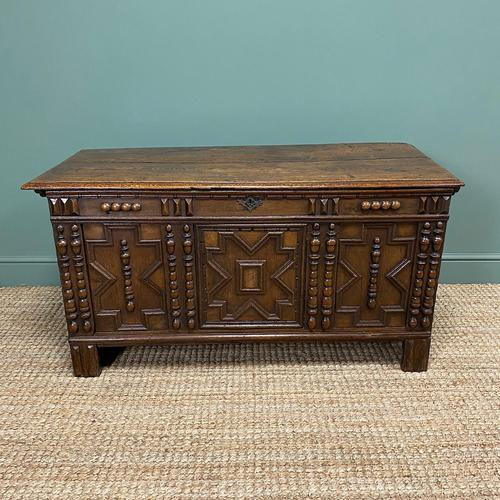 17th Century Oak Geometric Moulded Antique Coffer (1 of 7)