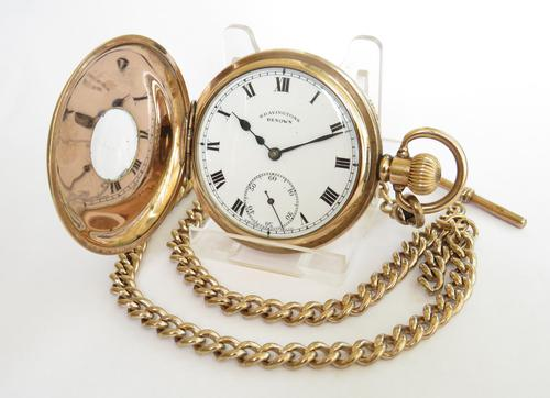 1930s Bravingtons Renown half hunter pocket watch and chain (1 of 5)