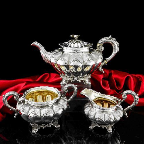 Magnificent Georgian Solid Silver Tea Set / Service 3 Piece Set - Barnard 1835 (1 of 29)