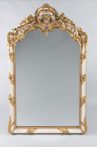 19th Century French Painted & Parcel - Gilt Overmantle Mirror (1 of 12)