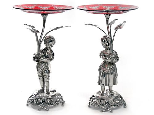 Silver Plate Boy & Girl Comports with Engraved Ruby Red Dishes (1 of 5)