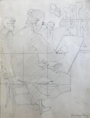 Original Pencil Drawing Squared for Transfer 'The life class' by William Dring RA. 1904-1990. Studio Stamped c.1935 (1 of 2)